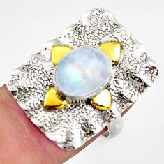 925 silver 4.22cts natural rainbow moonstone gold solitaire ring size 7 d46237