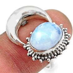 925 silver 5.11cts natural rainbow moonstone half moon ring size 7.5 r41778