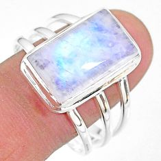 925 silver 10.30cts natural rainbow moonstone octagan ring size 11.5 t18134