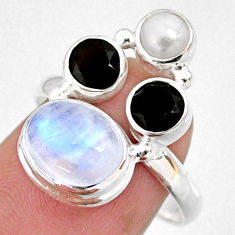 925 silver 8.06cts natural rainbow moonstone onyx pearl ring size 8 r63970