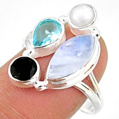 925 silver 10.02cts natural rainbow moonstone onyx pearl ring size 9 r63955
