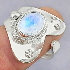 925 silver 3.13cts natural rainbow moonstone oval adjustable ring size 7 t8611
