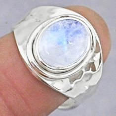 925 silver 3.91cts natural rainbow moonstone oval adjustable ring size 7 t8614