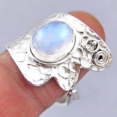 925 silver 4.46cts natural rainbow moonstone oval adjustable ring size 8 r54859
