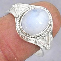 925 silver 4.21cts natural rainbow moonstone oval adjustable ring size 8 t8583