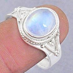 925 silver 4.06cts natural rainbow moonstone oval adjustable ring size 9 t8678