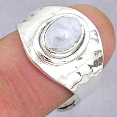 925 silver 2.14cts natural rainbow moonstone oval adjustable ring size 7.5 t8588