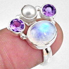 925 silver 7.79cts natural rainbow moonstone oval amethyst ring size 6 r58420