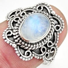 925 silver 3.01cts natural rainbow moonstone oval solitaire ring size 7.5 r26980