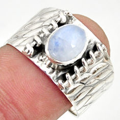 925 silver 2.03cts natural rainbow moonstone oval solitaire ring size 8.5 r34459