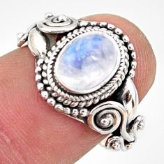 925 silver 1.94cts natural rainbow moonstone oval solitaire ring size 6.5 r35932