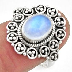 925 silver 3.13cts natural rainbow moonstone oval solitaire ring size 7.5 r52533