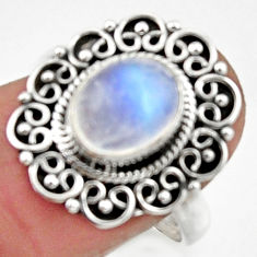 925 silver 3.19cts natural rainbow moonstone oval solitaire ring size 8.5 r52696