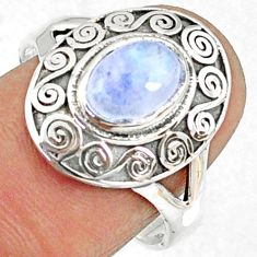 925 silver 1.92cts natural rainbow moonstone oval solitaire ring size 8.5 r68899