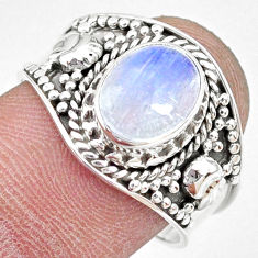 925 silver 3.29cts natural rainbow moonstone oval solitaire ring size 8.5 r74778