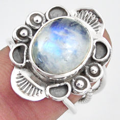 925 silver 4.82cts natural rainbow moonstone oval solitaire ring size 6 d46499