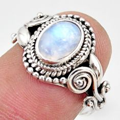 925 silver 1.94cts natural rainbow moonstone oval solitaire ring size 6 r35940