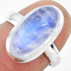 925 silver 6.47cts natural rainbow moonstone oval solitaire ring size 6 r47373