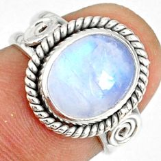 925 silver 5.23cts natural rainbow moonstone oval solitaire ring size 6 r76365