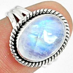 925 silver 6.31cts natural rainbow moonstone oval solitaire ring size 6 r76377