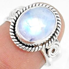 925 silver 5.09cts natural rainbow moonstone oval solitaire ring size 6 r76996