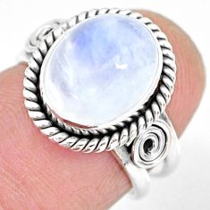 925 silver 5.11cts natural rainbow moonstone oval solitaire ring size 6 r83296