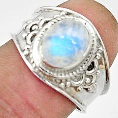 925 silver 3.45cts natural rainbow moonstone oval solitaire ring size 7 r22500