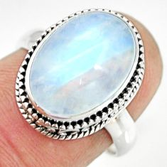 925 silver 6.48cts natural rainbow moonstone oval solitaire ring size 7 r26320