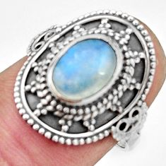 925 silver 3.02cts natural rainbow moonstone oval solitaire ring size 7 r26780