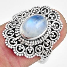 925 silver 3.42cts natural rainbow moonstone oval solitaire ring size 7 r26939