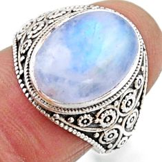 925 silver 5.87cts natural rainbow moonstone oval solitaire ring size 7 r54637