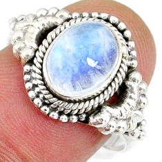 925 silver 3.09cts natural rainbow moonstone oval solitaire ring size 7 r58195