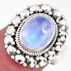 925 silver 4.31cts natural rainbow moonstone oval solitaire ring size 7 r58931