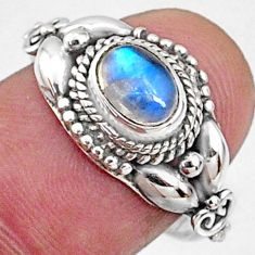 925 silver 1.51cts natural rainbow moonstone oval solitaire ring size 7 r64860