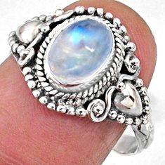 925 silver 2.08cts natural rainbow moonstone oval solitaire ring size 7 r65020