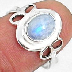 925 silver 2.42cts natural rainbow moonstone oval solitaire ring size 7 r68577