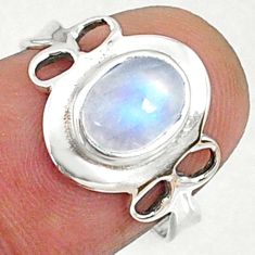 925 silver 2.42cts natural rainbow moonstone oval solitaire ring size 7 r68580