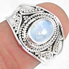 925 silver 2.02cts natural rainbow moonstone oval solitaire ring size 7 r69164