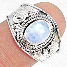 925 silver 2.19cts natural rainbow moonstone oval solitaire ring size 7 r69174