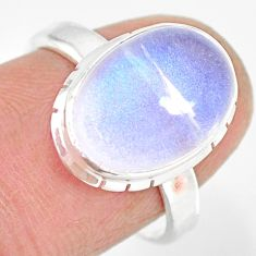925 silver 5.23cts natural rainbow moonstone oval solitaire ring size 7 r83286