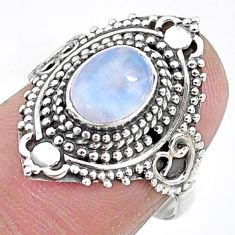 925 silver 2.11cts natural rainbow moonstone oval solitaire ring size 7 t10719