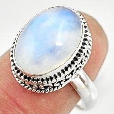 925 silver 6.83cts natural rainbow moonstone oval solitaire ring size 8 r26312