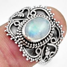 925 silver 3.18cts natural rainbow moonstone oval solitaire ring size 8 r26958