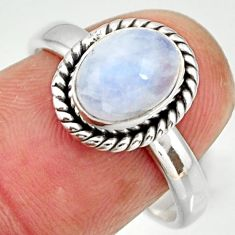 925 silver 3.29cts natural rainbow moonstone oval solitaire ring size 8 r27420