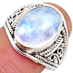 925 silver 6.35cts natural rainbow moonstone oval solitaire ring size 8 r35480
