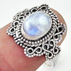 925 silver 3.22cts natural rainbow moonstone oval solitaire ring size 8 r40498