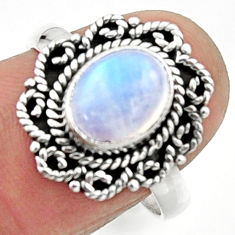 925 silver 3.32cts natural rainbow moonstone oval solitaire ring size 8 r52540