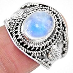 925 silver 4.55cts natural rainbow moonstone oval solitaire ring size 8 r53612