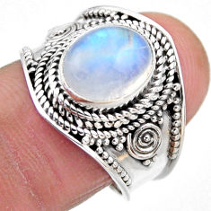 925 silver 4.38cts natural rainbow moonstone oval solitaire ring size 8 r53619