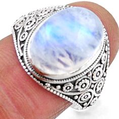 925 silver 6.31cts natural rainbow moonstone oval solitaire ring size 8 r54639